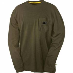 CAT Trademark Pocket Long Sleeve Tee - Men - Army Moss