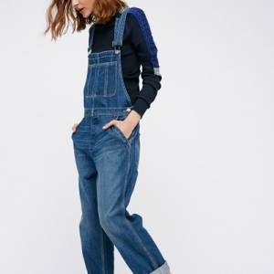 Free People The Boyfriend Blue Denim Overall