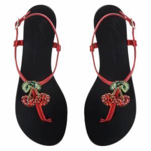 "Giuseppe Zanotti Flat Sandals ""Cherry Red"""