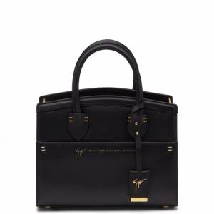 Giuseppe Zanotti - ANGELINA - Black Calf Leather Women's Hand Bag