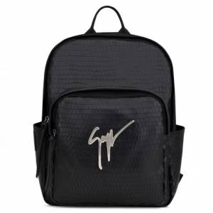 Giuseppe Zanotti Backpacks CAREY Black Crocodile-Embossed