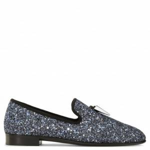 Giuseppe Zanotti Loafers - SPACEY - Black Fabric Silver Glitter Finishing Men's Loafer