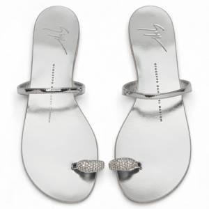 "Giuseppe Zanotti Flat Sandals ""Silver Ring"""