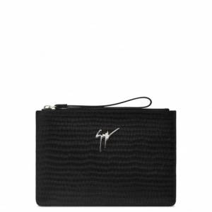 Giuseppe Zanotti Pouches MARCEL Black Crocodile-Embossed Bag