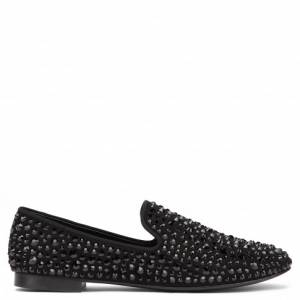 Giuseppe Zanotti Loafers - DAVID - Men's Black Suede Crystals Loafers