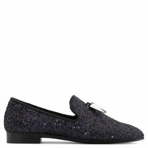 Giuseppe Zanotti Loafers SPACEY Black Glitter Men's Shoes