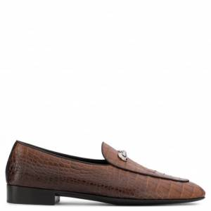 Giuseppe Zanotti Loafers ARCHIBALD CLASSIC Brown Crocodile Embossed Men's Shoes