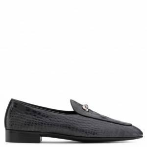 Giuseppe Zanotti Loafers ARCHIBALD CLASSIC Black Crocodile Embossed Men's Shoes