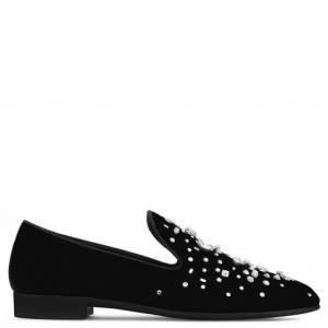 Giuseppe Zanotti - OMAR - Black Velvet Men's Loafer With Crystals