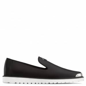 Giuseppe Zanotti - BERNIE - Black Matte Nappa Leather Men's Loafer With Metal Tip