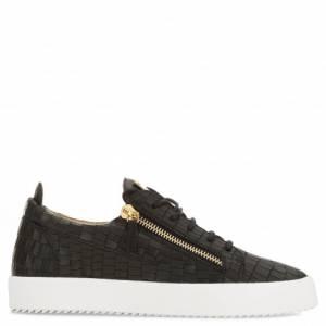 Giuseppe Zanotti Low-Tops - FRANKIE - Black Leather Crocodile-Embossed Men's Sneaker
