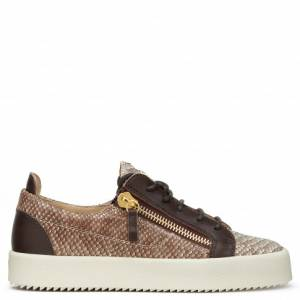 Giuseppe Zanotti - DEVON - Python-embossed calf leather Women's low-top sneakers