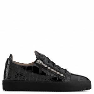Giuseppe Zanotti - FRANKIE - Black Crocodile-Embossed Pantent Men's Sneakers
