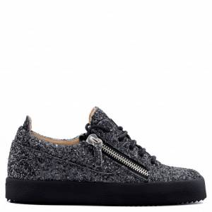 Giuseppe Zanotti - GAIL GLITTER - Grey Fabric And Leather Women's Sneakers With Glitter