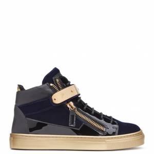 Giuseppe Zanotti - COBY - Dark Blue Velvet Teen's Sneakers