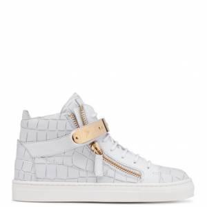 Giuseppe Zanotti - NICKI - White Crocodile-Embossed Leather Teen's Sneakers