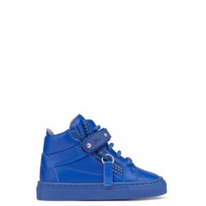 Giuseppe Zanotti Baby Shoes - TAYLOR - Kids Blue Leather Sneakers