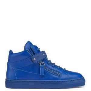 Giuseppe Zanotti Teen - TAYLOR - Kids Blue Leather Sneakers