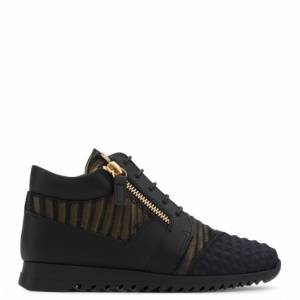 Giuseppe Zanotti - RUNNER JR. - Black Velvet And Patent Leather Teen's Sneaker