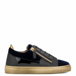 Giuseppe Zanotti - GARY JR. - Dark Blue Velvet Slip-On Teen's Sneaker