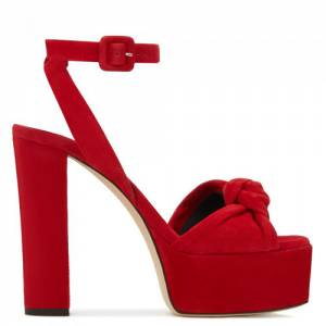"Giuseppe Zanotti Sandals ""Red Betty Knot Platforms"""