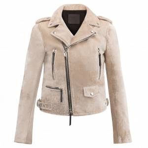 Giuseppe Zanotti Ready To Wear - AMELIA - Pearl Grey Velvet Motorcycle Women's Jacket
