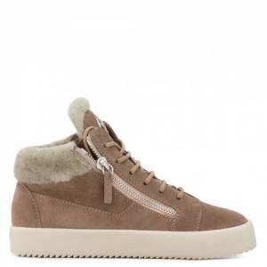 Giuseppe Zanotti - KRISS - Suede Beige Mid-Top Women's Sneakers