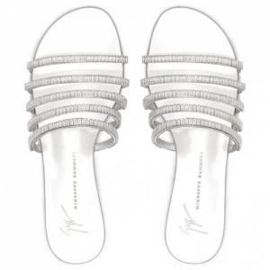 "Giuseppe Zanotti Flat Sandals ""Silver Michela"" Women's Shoes"