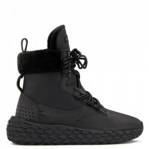 Giuseppe Zanotti - URCHIN - Black High-Top Women's Suede Sneakers