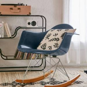 Modernica Fiberglass Blue Arm Shell Rocking Chair