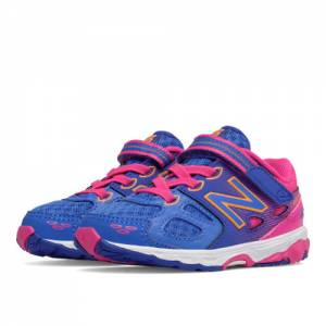 New Balance Hook and Loop 680v3 Kids Infant Running Shoes - Blue / Pink (KA680PNI)