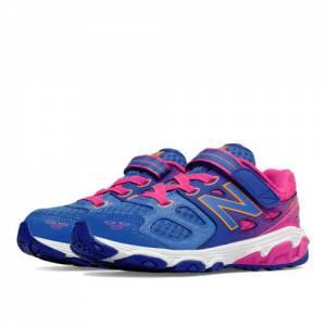 New Balance Hook and Loop 680v3 Kids Grade School Running Shoes - Blue / Pink (KA680PNY)