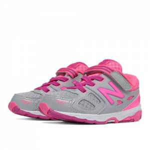 New Balance Hook and Loop 680v3 Kids Infant Running Shoes - Grey / Pink (KA680SAI)