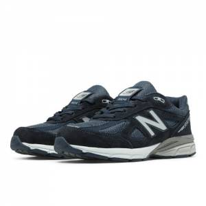 New Balance 990v4 Kids Grade School Running Shoes - Navy (KJ990NBG)