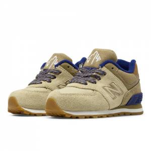 New Balance 574 Collegiate Kids Infant Lifestyle Shoes - Tan / Purple (KL574NMI)