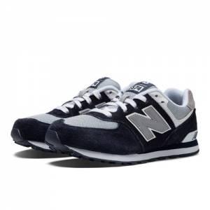 New Balance 574 Kids Grade School Lifestyle Shoes - Navy / Grey / White (KL574NWG)