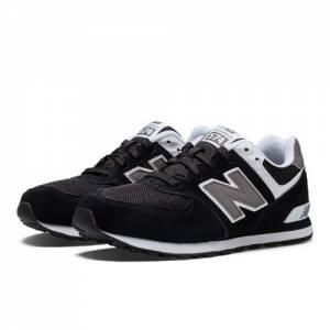 New Balance 574 Kids Grade School Lifestyle Shoes - Black / White / Grey (KL574SKG)