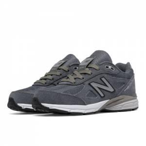 New Balance Reflective 990v4 Kids Grade School Running Shoes - Grey / Silver (KL990L2G)