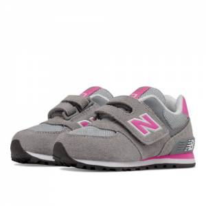 New Balance 574 Hook and Loop Kids Infant Lifestyle Shoes - Grey / Pink (KV574CDI)