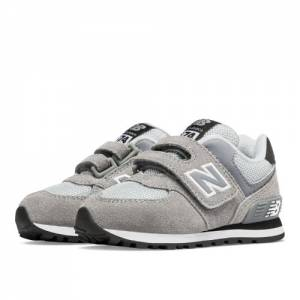 New Balance 574 Hook and Loop Kids Infant Lifestyle Shoes - Grey / Black (KV574CII)
