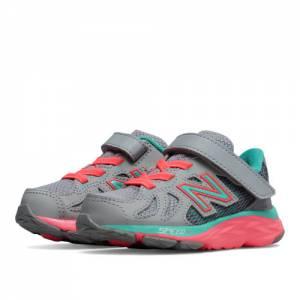 New Balance Hook and Loop 790v6 Kids Infant Running Shoes - Grey / Green / Pink (KV790GNI)