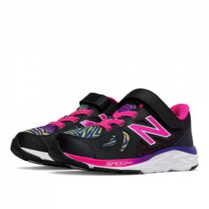 New Balance Hook and Loop 790v6 Kids Pre-School Running Shoes - Black / Pink (KV790KRP)