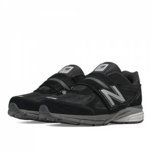 New Balance Hook and Loop 990v4 Kids Pre-School Running Shoes - Black (KV990BSP)