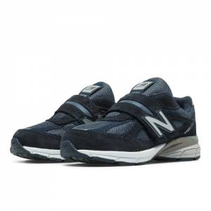 New Balance Hook and Loop 990v4 Kids Pre-School Running Shoes - Navy (KV990NBP)