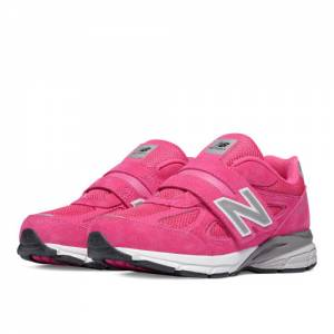 New Balance Hook and Loop 990v4 Kids Pre-School Running Shoes - Pink (KV990PEP)