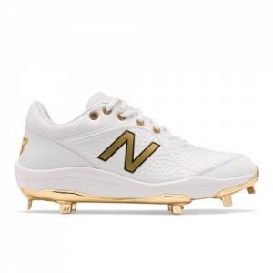 New Balance 3000v5 Cleats Men's Baseball Shoes - White / Gold (L3000WG5)