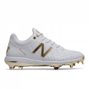 New Balance 4040v5 Hole in the Wall Gang Men's Baseball Shoes - White / Gold (L4040WG5)