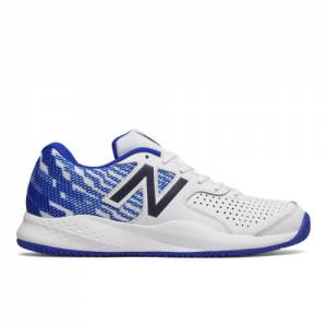 New Balance 696v3 Men's Tennis Shoes - White / Blue (MCH696R3)