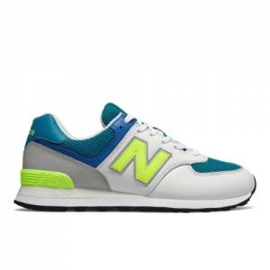 New Balance 574 Men's Shoes - White / Blue (ML574PWB)