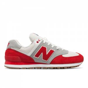 New Balance 574 Retro Sport Men's 574 Shoes - Red / Silver (ML574RSB)
